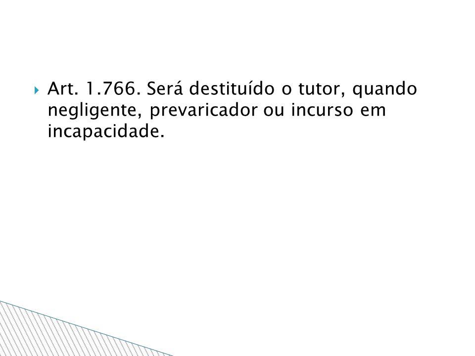 Art. 1.766. Será destituído o tutor, quando negligente, prevaricador ou incurso em incapacidade.
