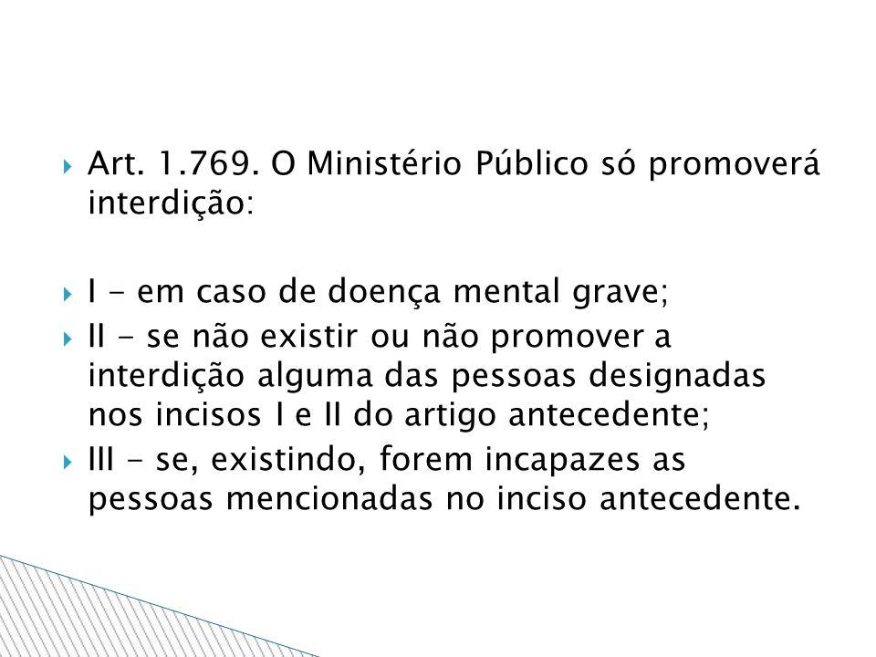 Art. 1.769. O Ministério Público só promoverá interdição: I - em caso de doença mental grave; II - se não existir ou não promover a interdição alguma