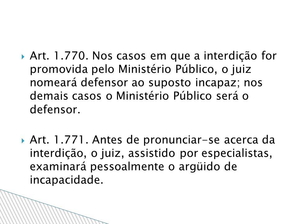 Art. 1.770. Nos casos em que a interdição for promovida pelo Ministério Público, o juiz nomeará defensor ao suposto incapaz; nos demais casos o Minist