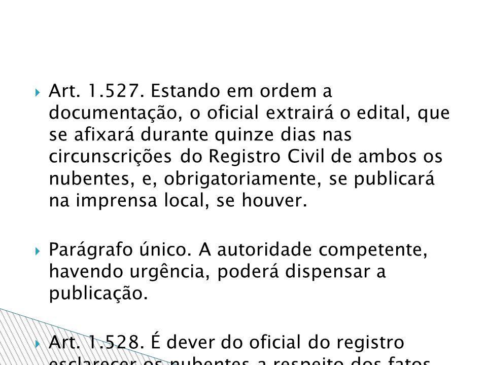 Art. 1.527. Estando em ordem a documentação, o oficial extrairá o edital, que se afixará durante quinze dias nas circunscrições do Registro Civil de a