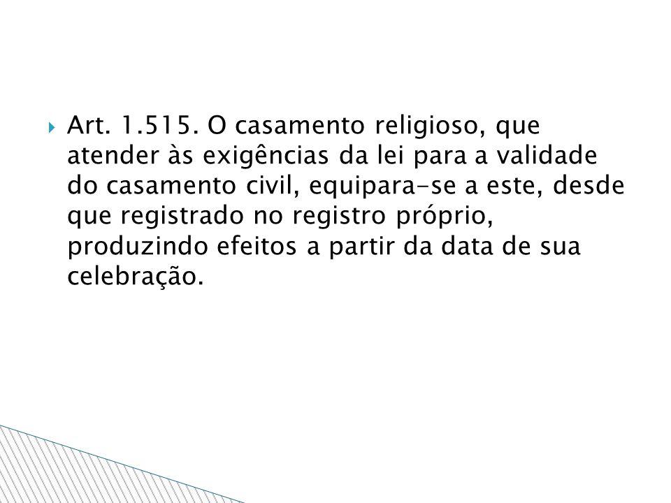 Art. 1.515. O casamento religioso, que atender às exigências da lei para a validade do casamento civil, equipara-se a este, desde que registrado no re