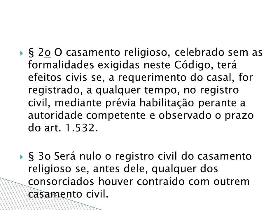 § 2o O casamento religioso, celebrado sem as formalidades exigidas neste Código, terá efeitos civis se, a requerimento do casal, for registrado, a qua