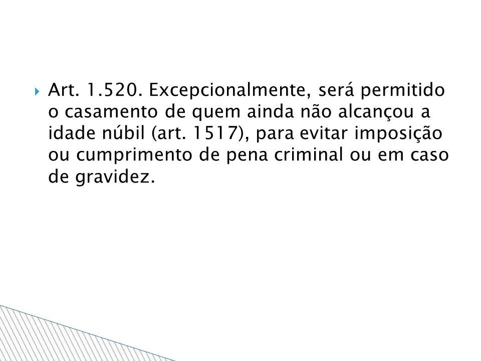Art. 1.520. Excepcionalmente, será permitido o casamento de quem ainda não alcançou a idade núbil (art. 1517), para evitar imposição ou cumprimento de
