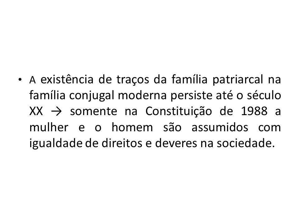 A existência de traços da família patriarcal na família conjugal moderna persiste até o século XX somente na Constituição de 1988 a mulher e o homem s