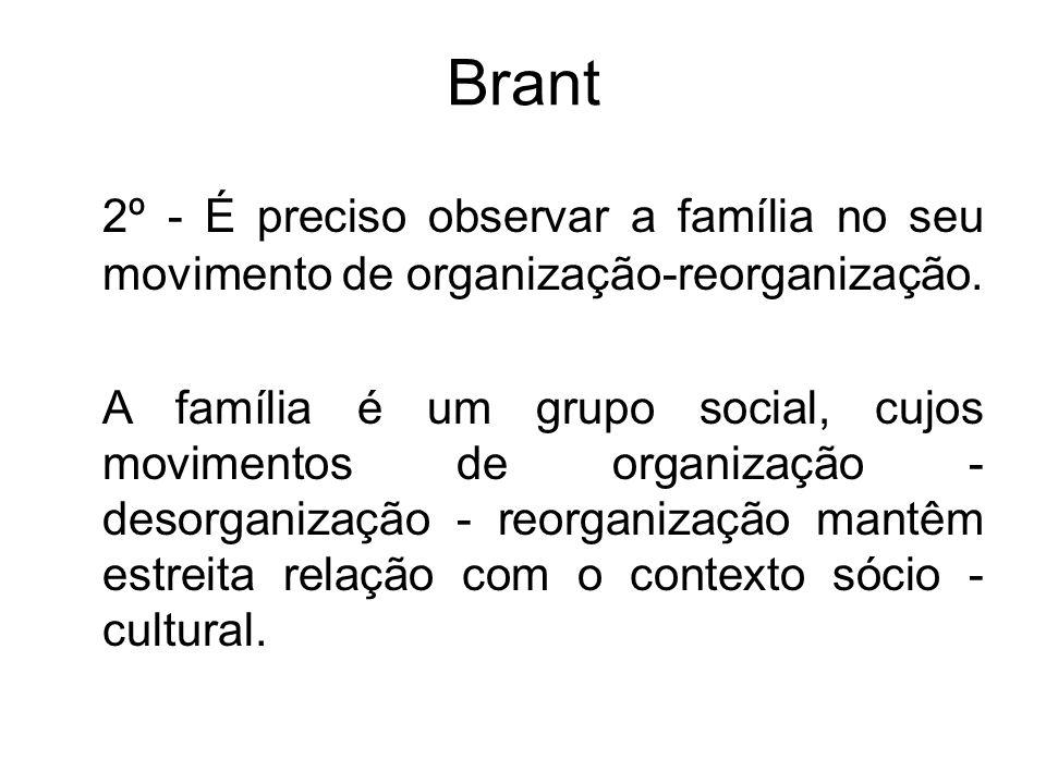 Brant 2º - É preciso observar a família no seu movimento de organização-reorganização. A família é um grupo social, cujos movimentos de organização -