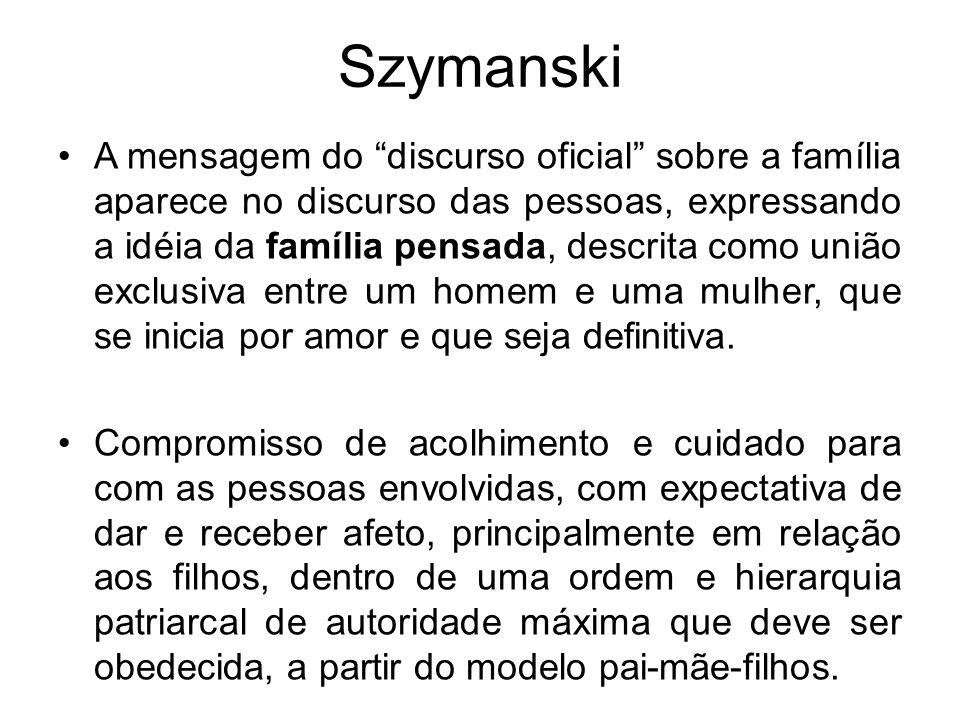 Szymanski A mensagem do discurso oficial sobre a família aparece no discurso das pessoas, expressando a idéia da família pensada, descrita como união