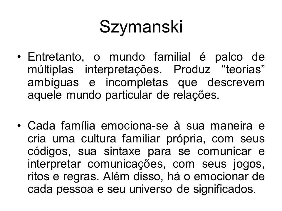 Szymanski Entretanto, o mundo familial é palco de múltiplas interpretações. Produz teorias ambíguas e incompletas que descrevem aquele mundo particula