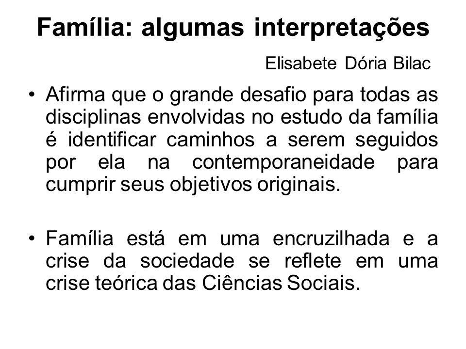 Família: algumas interpretações Elisabete Dória Bilac Afirma que o grande desafio para todas as disciplinas envolvidas no estudo da família é identifi