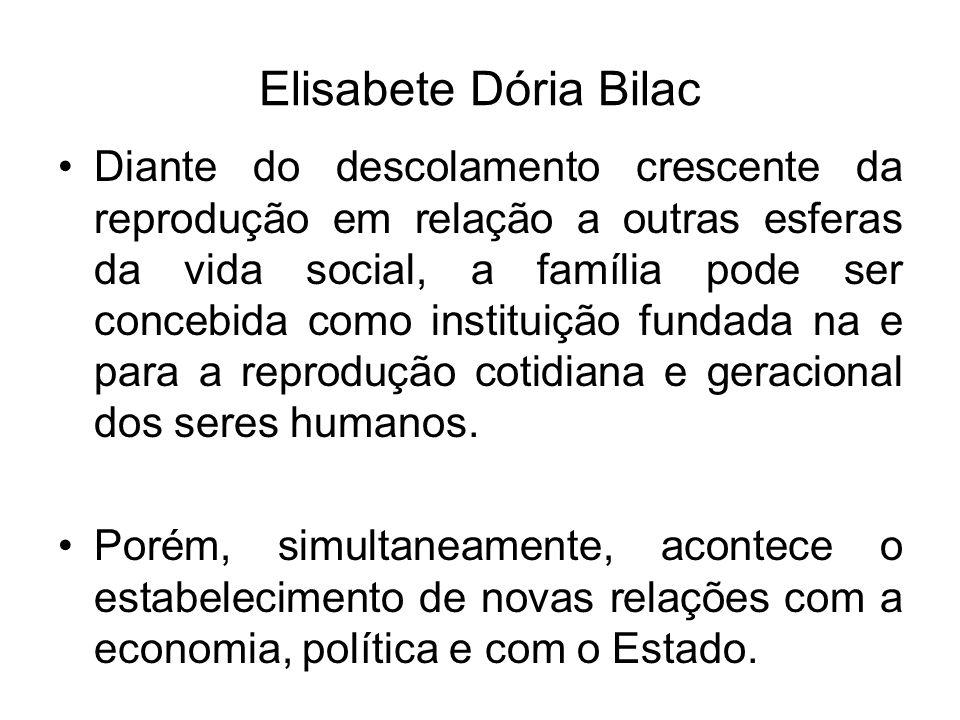 Elisabete Dória Bilac Diante do descolamento crescente da reprodução em relação a outras esferas da vida social, a família pode ser concebida como ins