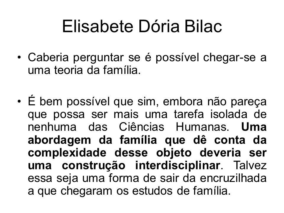 Elisabete Dória Bilac Caberia perguntar se é possível chegar-se a uma teoria da família. É bem possível que sim, embora não pareça que possa ser mais