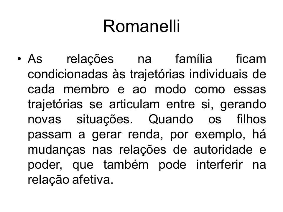 Romanelli As relações na família ficam condicionadas às trajetórias individuais de cada membro e ao modo como essas trajetórias se articulam entre si,