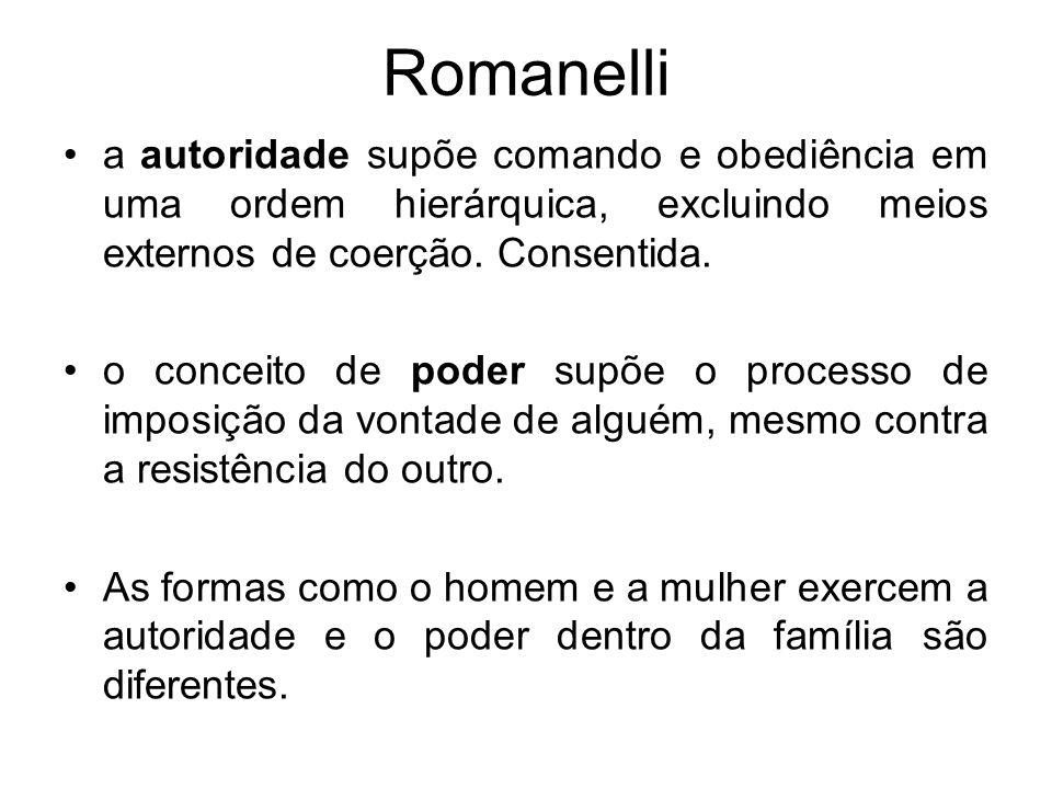 Romanelli a autoridade supõe comando e obediência em uma ordem hierárquica, excluindo meios externos de coerção. Consentida. o conceito de poder supõe