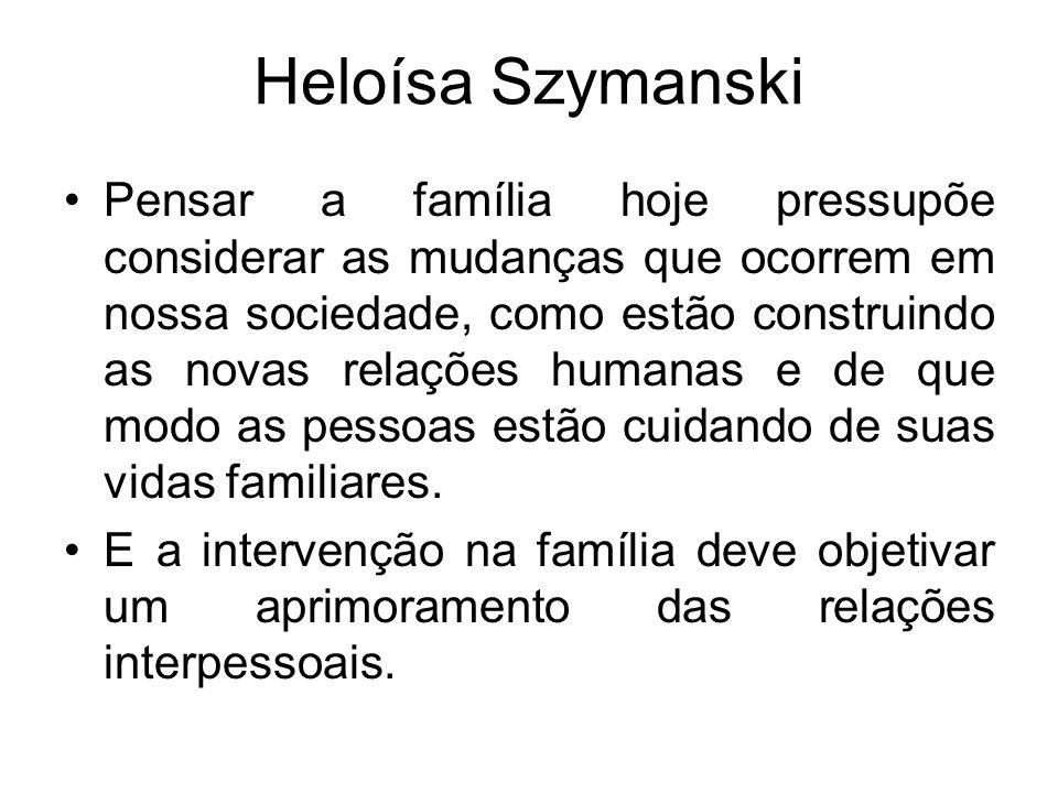 Heloísa Szymanski Pensar a família hoje pressupõe considerar as mudanças que ocorrem em nossa sociedade, como estão construindo as novas relações huma