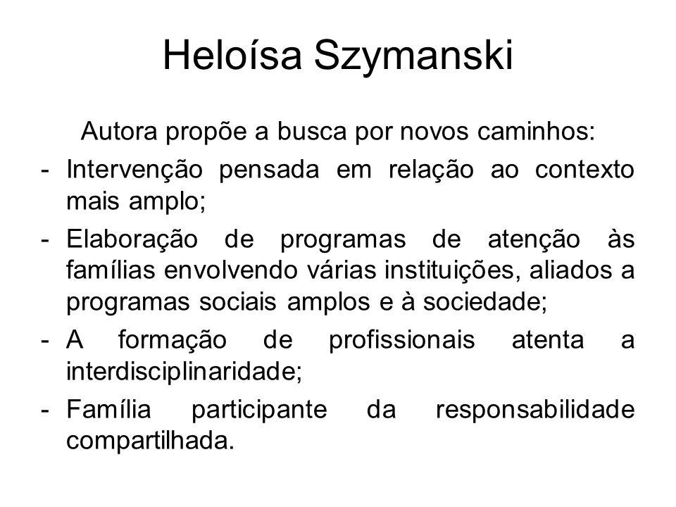 Heloísa Szymanski Autora propõe a busca por novos caminhos: -Intervenção pensada em relação ao contexto mais amplo; -Elaboração de programas de atençã