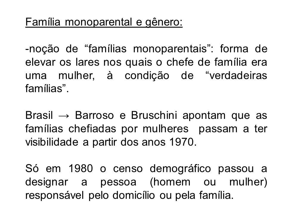Família monoparental e gênero: -noção de famílias monoparentais: forma de elevar os lares nos quais o chefe de família era uma mulher, à condição de v