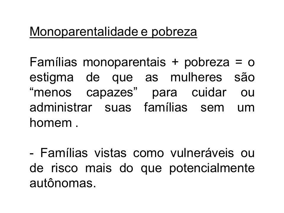 Monoparentalidade e pobreza Famílias monoparentais + pobreza = o estigma de que as mulheres são menos capazes para cuidar ou administrar suas famílias