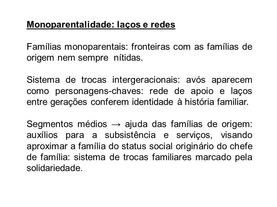 Monoparentalidade: laços e redes Famílias monoparentais: fronteiras com as famílias de origem nem sempre nítidas. Sistema de trocas intergeracionais: