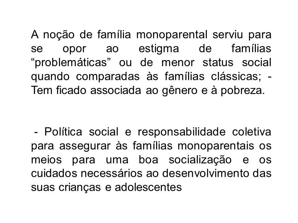 A noção de família monoparental serviu para se opor ao estigma de famílias problemáticas ou de menor status social quando comparadas às famílias cláss