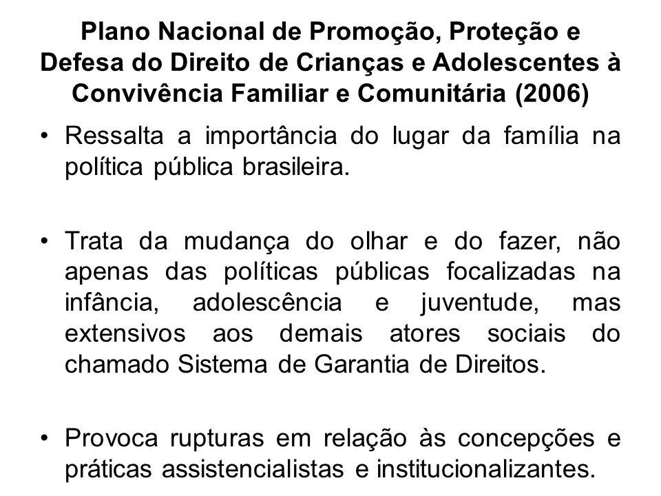 Plano Nacional de Promoção, Proteção e Defesa do Direito de Crianças e Adolescentes à Convivência Familiar e Comunitária (2006) Ressalta a importância