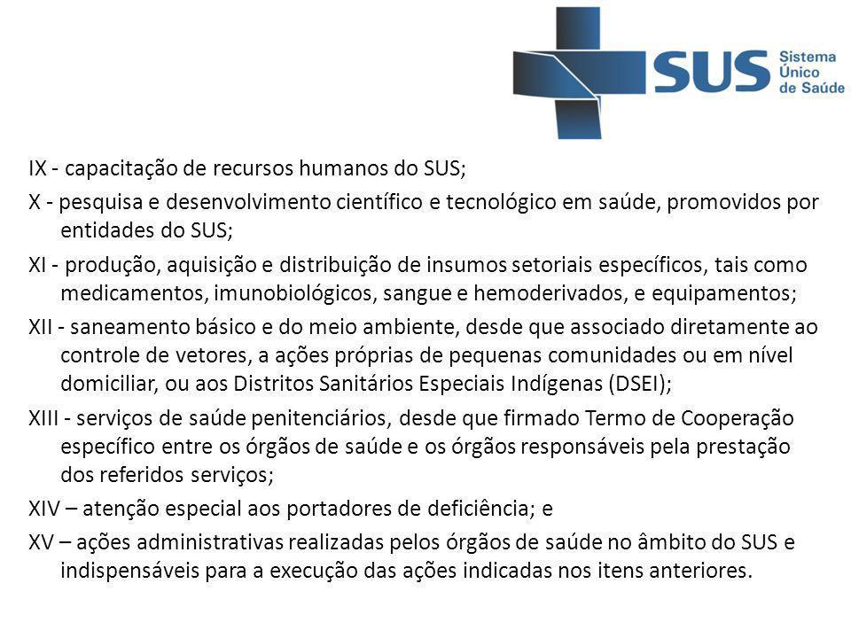 IX - capacitação de recursos humanos do SUS; X - pesquisa e desenvolvimento científico e tecnológico em saúde, promovidos por entidades do SUS; XI - p