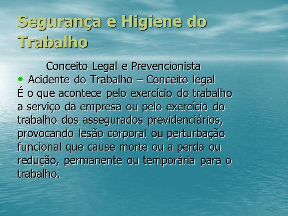 Segurança e Higiene do Trabalho Conceito Legal e Prevencionista Acidente do Trabalho – Conceito legal Acidente do Trabalho – Conceito legal É o que ac