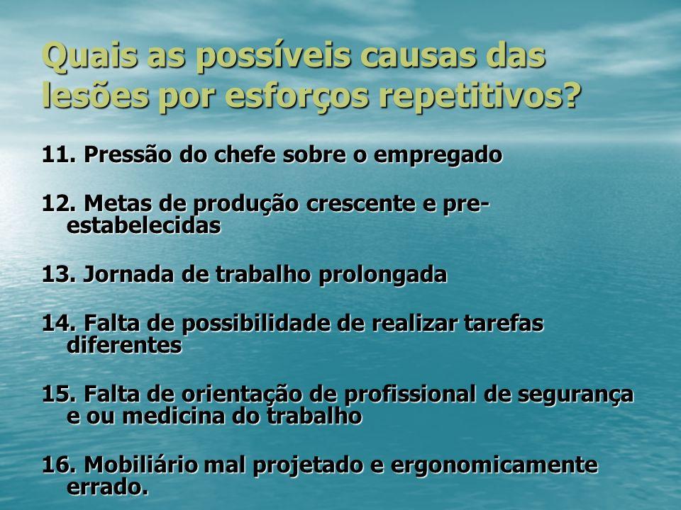 Quais as possíveis causas das lesões por esforços repetitivos.