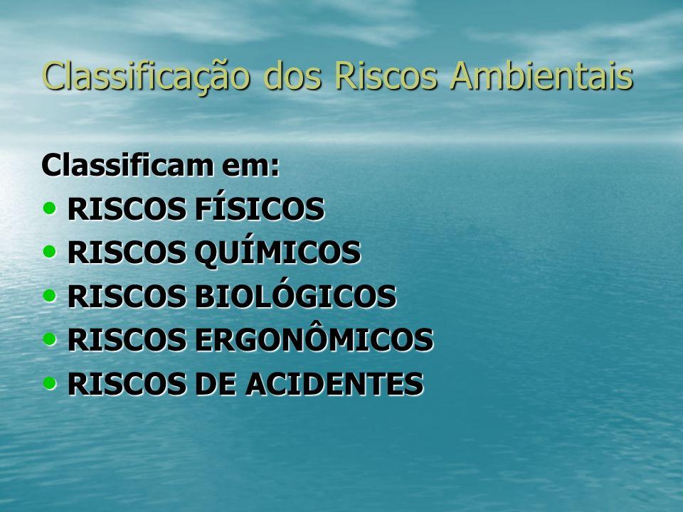 Classificação dos Riscos Ambientais Classificam em: RISCOS FÍSICOS RISCOS FÍSICOS RISCOS QUÍMICOS RISCOS QUÍMICOS RISCOS BIOLÓGICOS RISCOS BIOLÓGICOS