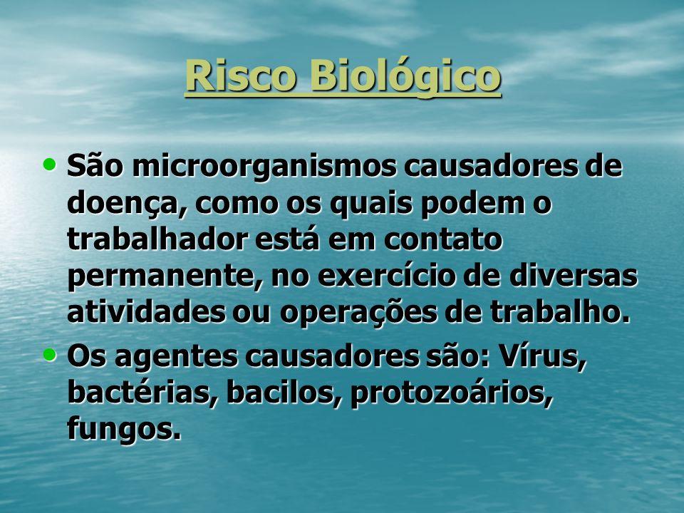 Risco Biológico São microorganismos causadores de doença, como os quais podem o trabalhador está em contato permanente, no exercício de diversas atividades ou operações de trabalho.