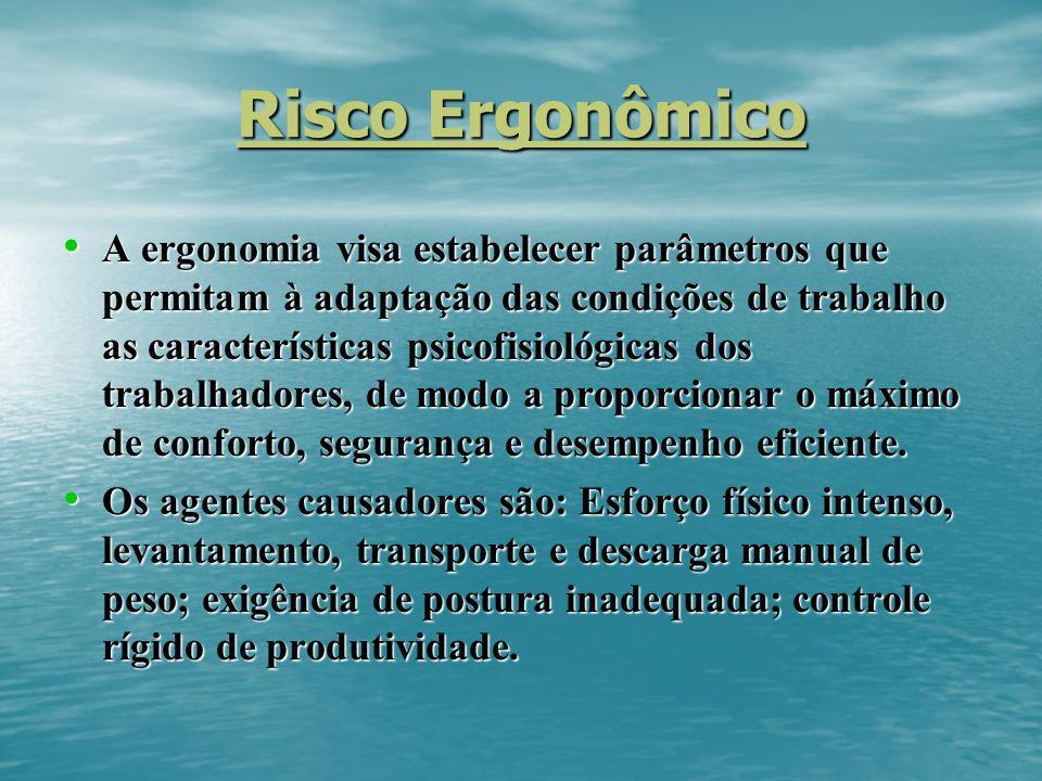 Risco Ergonômico A ergonomia visa estabelecer parâmetros que permitam à adaptação das condições de trabalho as características psicofisiológicas dos trabalhadores, de modo a proporcionar o máximo de conforto, segurança e desempenho eficiente.