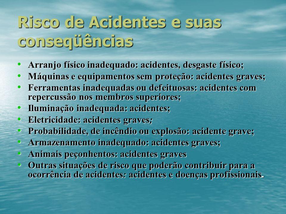 Risco de Acidentes e suas conseqüências Arranjo físico inadequado: acidentes, desgaste físico; Arranjo físico inadequado: acidentes, desgaste físico;