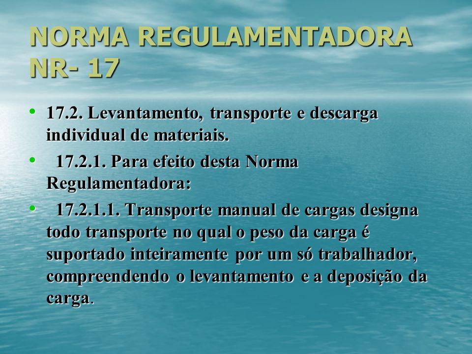 NORMA REGULAMENTADORA NR- 17 17.2. Levantamento, transporte e descarga individual de materiais. 17.2. Levantamento, transporte e descarga individual d