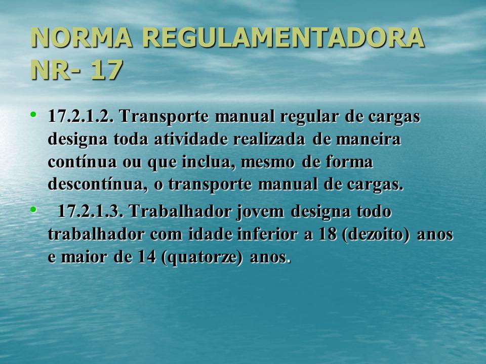 NORMA REGULAMENTADORA NR- 17 17.2.1.2. Transporte manual regular de cargas designa toda atividade realizada de maneira contínua ou que inclua, mesmo d