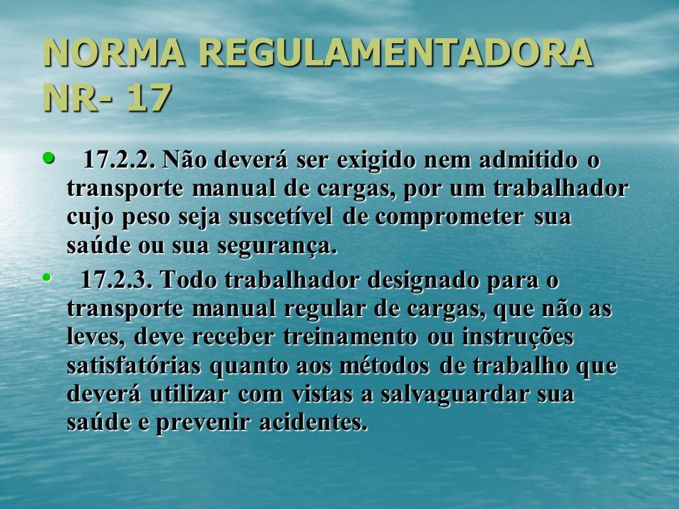 NORMA REGULAMENTADORA NR- 17 17.2.2. Não deverá ser exigido nem admitido o transporte manual de cargas, por um trabalhador cujo peso seja suscetível d