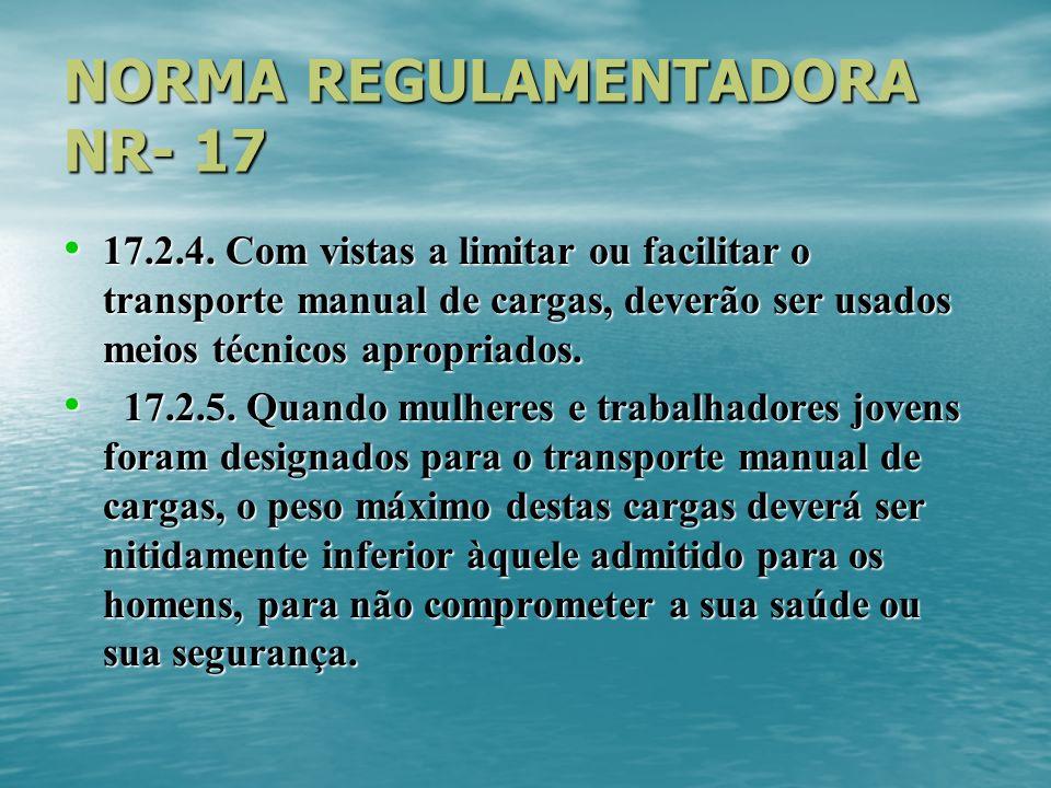 NORMA REGULAMENTADORA NR- 17 17.2.4. Com vistas a limitar ou facilitar o transporte manual de cargas, deverão ser usados meios técnicos apropriados. 1