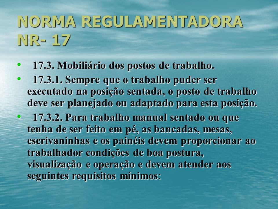 NORMA REGULAMENTADORA NR- 17 17.3.Mobiliário dos postos de trabalho.
