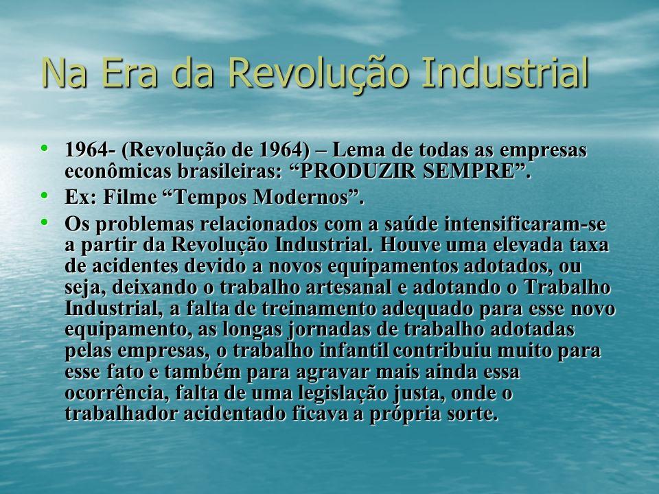 ACIDENTES DO TRABALHO Os Acidentes do Trabalho antes da Industrialização Os Acidentes do Trabalho antes da Industrialização Trabalho era artesanal, braçal, escravo.