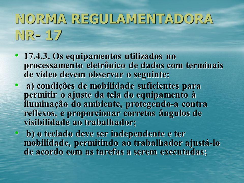 NORMA REGULAMENTADORA NR- 17 17.4.3. Os equipamentos utilizados no processamento eletrônico de dados com terminais de vídeo devem observar o seguinte: