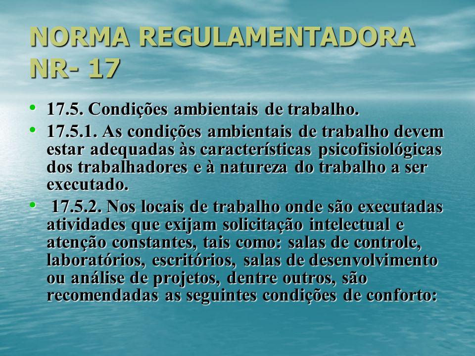 NORMA REGULAMENTADORA NR- 17 17.5. Condições ambientais de trabalho. 17.5. Condições ambientais de trabalho. 17.5.1. As condições ambientais de trabal
