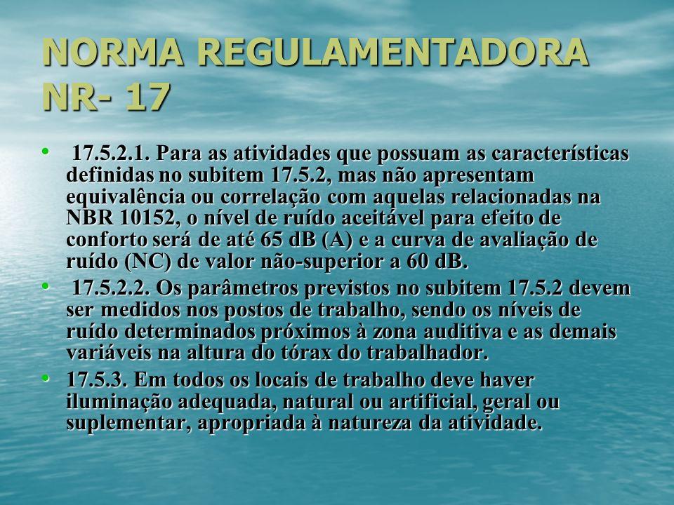 NORMA REGULAMENTADORA NR- 17 17.5.2.1. Para as atividades que possuam as características definidas no subitem 17.5.2, mas não apresentam equivalência