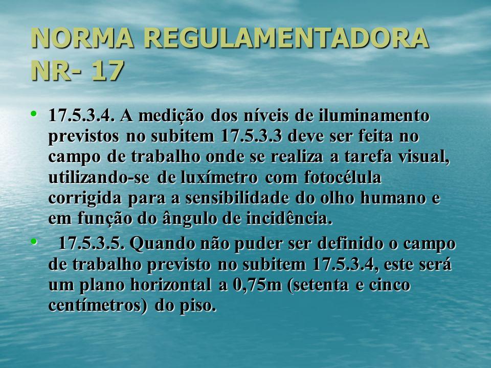 NORMA REGULAMENTADORA NR- 17 17.5.3.4. A medição dos níveis de iluminamento previstos no subitem 17.5.3.3 deve ser feita no campo de trabalho onde se