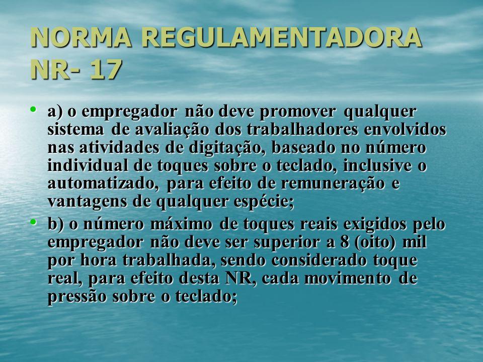 NORMA REGULAMENTADORA NR- 17 a) o empregador não deve promover qualquer sistema de avaliação dos trabalhadores envolvidos nas atividades de digitação,