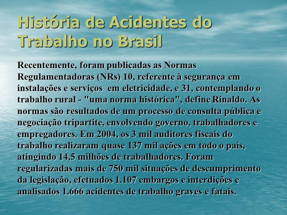 História de Acidentes do Trabalho no Brasil Recentemente, foram publicadas as Normas Regulamentadoras (NRs) 10, referente à segurança em instalações e