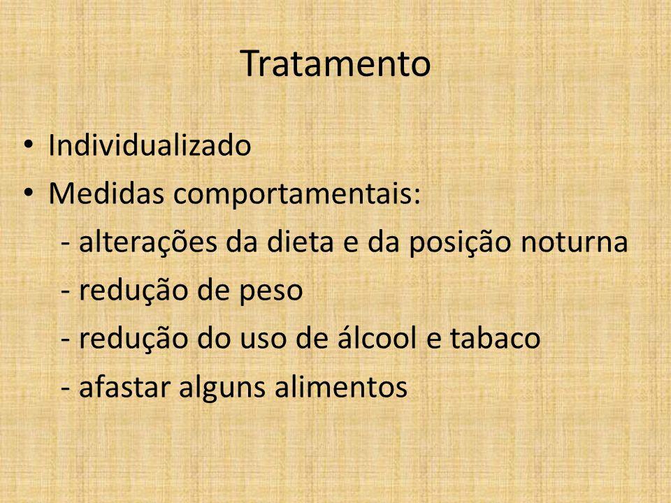 Tratamento Individualizado Medidas comportamentais: - alterações da dieta e da posição noturna - redução de peso - redução do uso de álcool e tabaco -