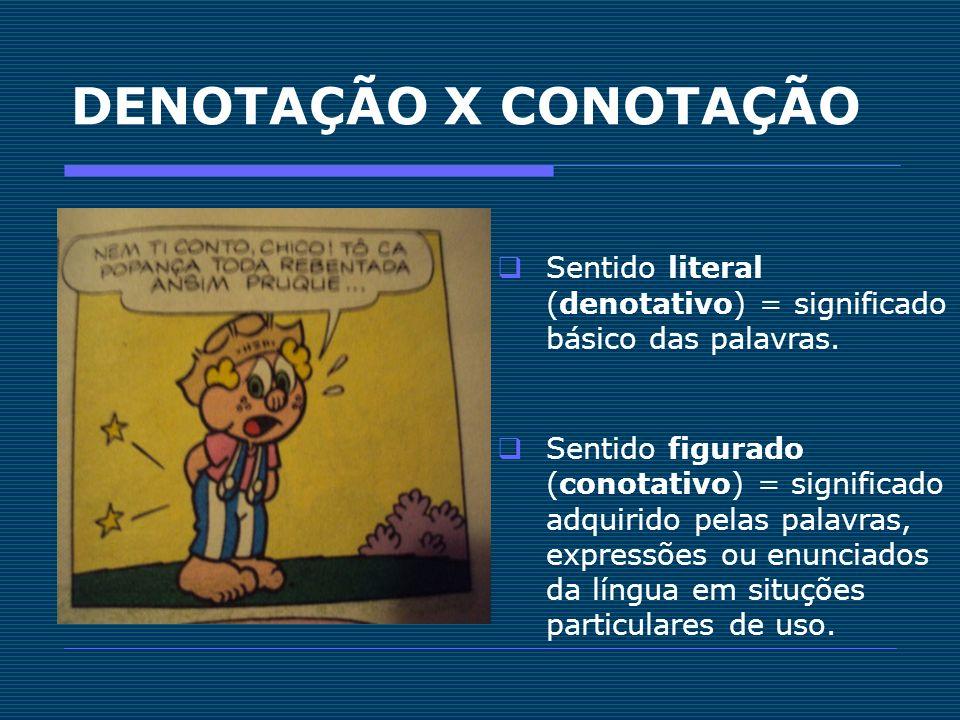 DENOTAÇÃO X CONOTAÇÃO Sentido literal (denotativo) = significado básico das palavras. Sentido figurado (conotativo) = significado adquirido pelas pala
