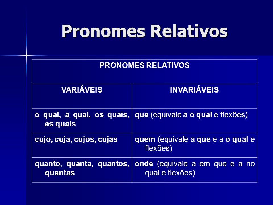 Pronomes Relativos PRONOMES RELATIVOS VARIÁVEISINVARIÁVEIS o qual, a qual, os quais, as quais que (equivale a o qual e flexões) cujo, cuja, cujos, cuj