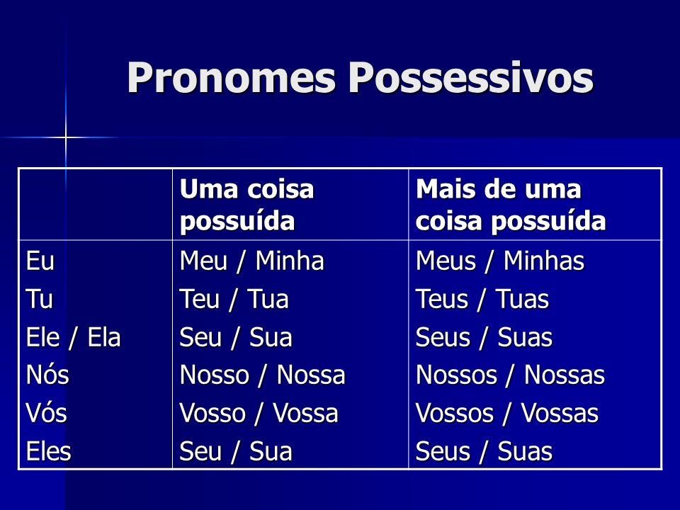 Pronomes Possessivos Uma coisa possuída Mais de uma coisa possuída EuTu Ele / Ela NósVósEles Meu / Minha Teu / Tua Seu / Sua Nosso / Nossa Vosso / Vos