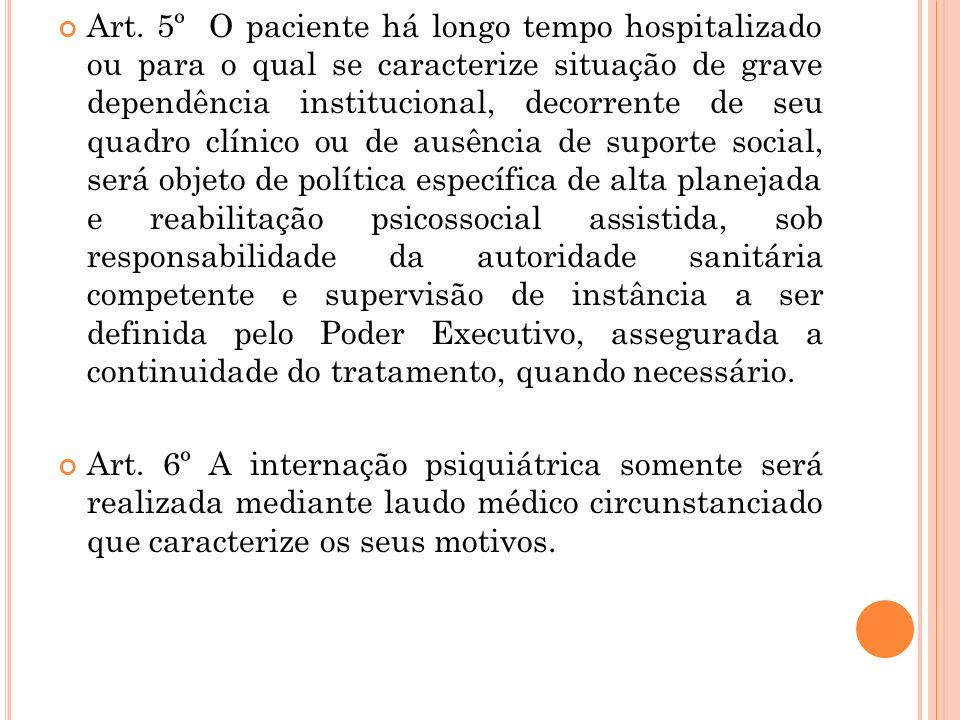 Art. 5º O paciente há longo tempo hospitalizado ou para o qual se caracterize situação de grave dependência institucional, decorrente de seu quadro cl