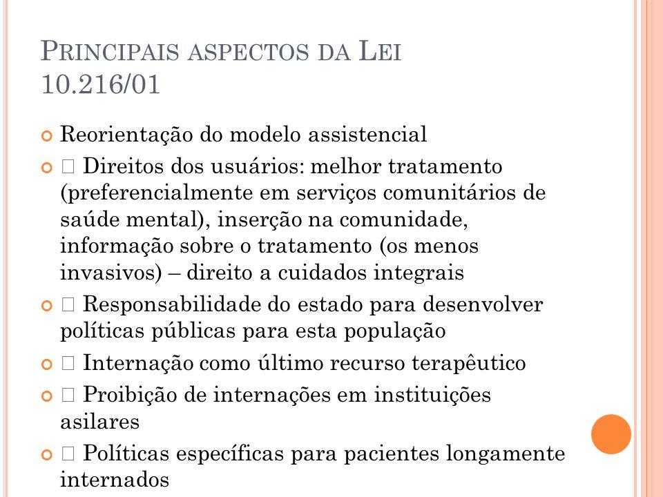 """P RINCIPAIS ASPECTOS DA L EI 10.216/01 Reorientação do modelo assistencial """" Direitos dos usuários: melhor tratamento (preferencialmente em serviços c"""