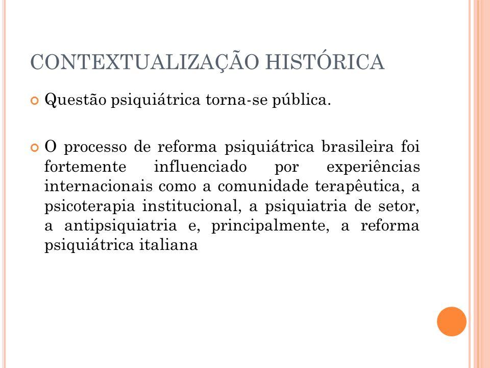 CONTEXTUALIZAÇÃO HISTÓRICA Questão psiquiátrica torna-se pública. O processo de reforma psiquiátrica brasileira foi fortemente influenciado por experi