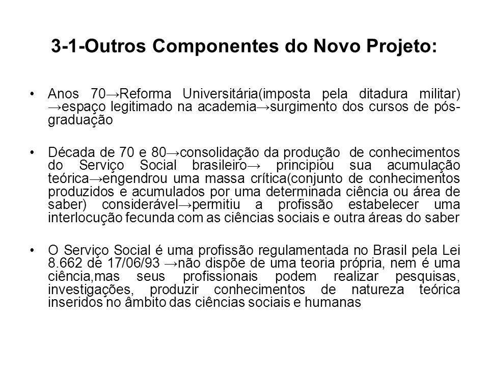 3-1-Outros Componentes do Novo Projeto: Anos 70Reforma Universitária(imposta pela ditadura militar) espaço legitimado na academiasurgimento dos cursos